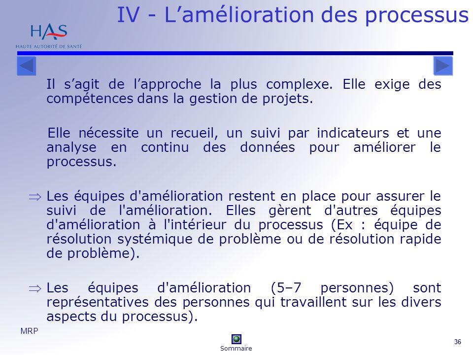 MRP 36 IV - Lamélioration des processus Il sagit de lapproche la plus complexe. Elle exige des compétences dans la gestion de projets. Elle nécessite