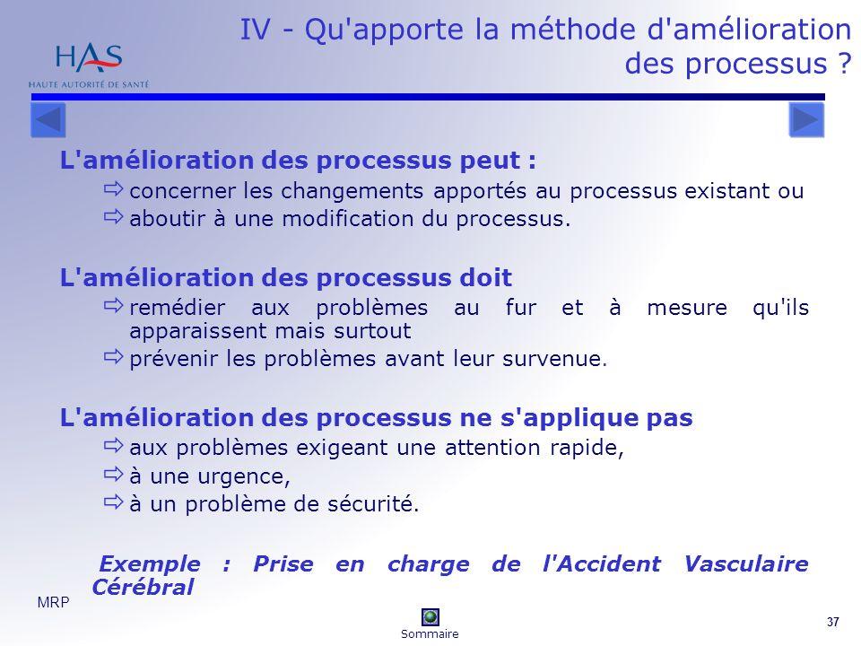 MRP 37 IV - Qu'apporte la méthode d'amélioration des processus ? L'amélioration des processus peut : concerner les changements apportés au processus e