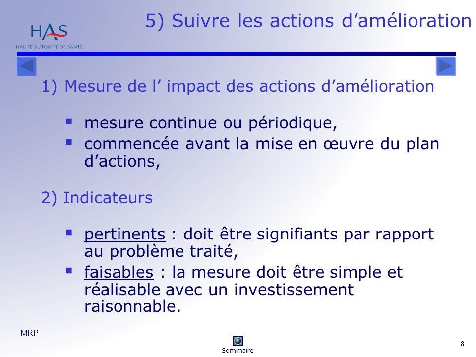 MRP 8 5) Suivre les actions damélioration 1)Mesure de l impact des actions damélioration mesure continue ou périodique, commencée avant la mise en œuv