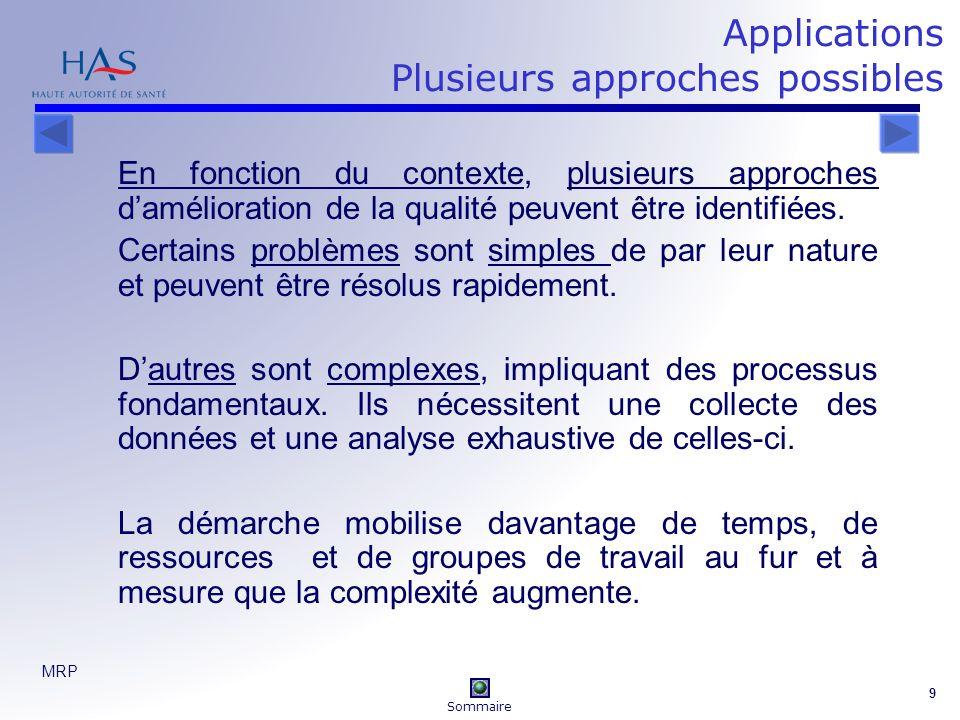 MRP 9 Applications Plusieurs approches possibles En fonction du contexte, plusieurs approches damélioration de la qualité peuvent être identifiées. Ce