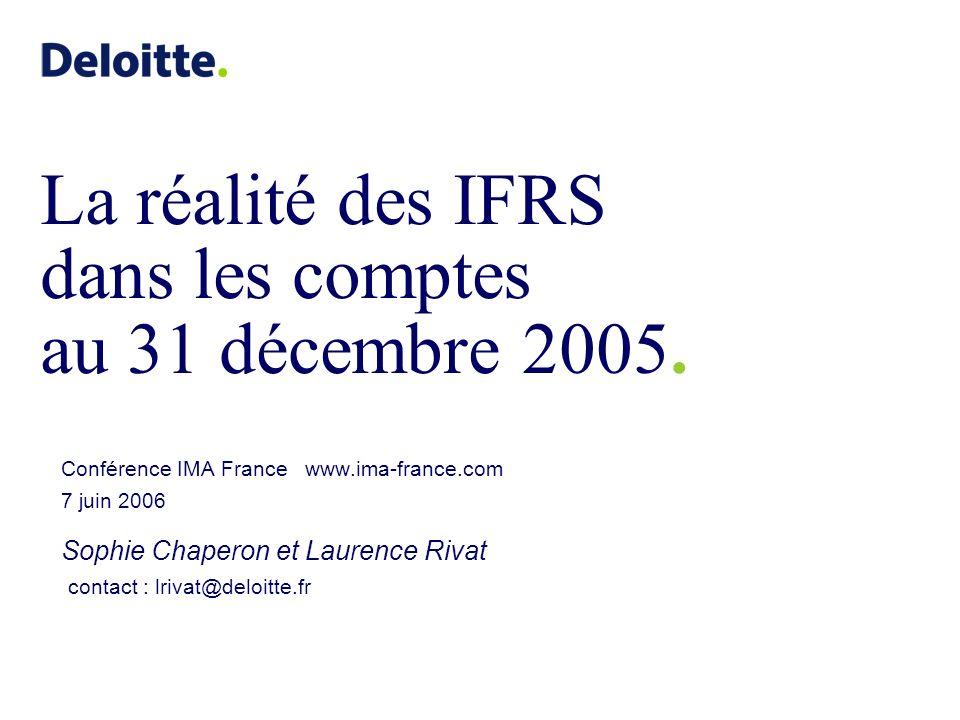 ©2006 Deloitte & Associés La réalité des IFRS dans les comptes au 31 décembre 2005 Conférence IMA France 7 juin 2006 22 Etat de variation des capitaux propres Seuls 60% environ des groupes ont fait apparaître le total des « Pertes et profits de la période comptabilisés au compte de résultat ou directement en capitaux propres » dans létat de synthèse Parmi les 7 groupes qui comptabilisent les écarts actuariels IAS 19 en capitaux propres, seuls 2 ont présenté un SORIE Source : GDF