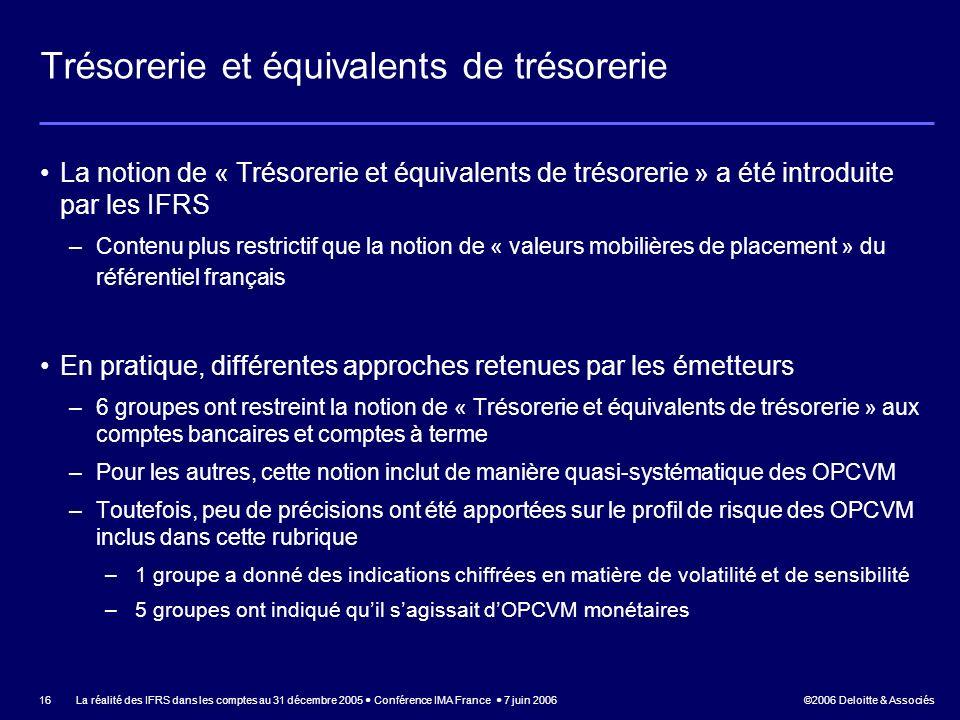 ©2006 Deloitte & Associés La réalité des IFRS dans les comptes au 31 décembre 2005 Conférence IMA France 7 juin 2006 16 Trésorerie et équivalents de t