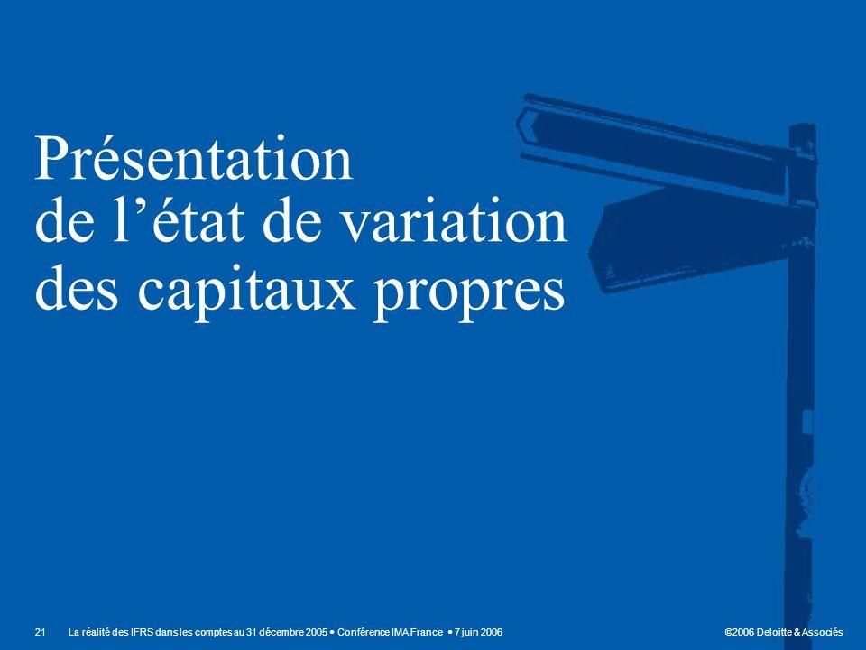 ©2006 Deloitte & Associés 21La réalité des IFRS dans les comptes au 31 décembre 2005 Conférence IMA France 7 juin 2006 Présentation de létat de variat