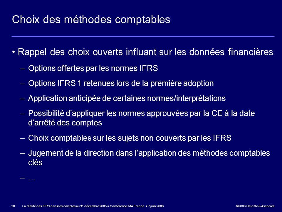©2006 Deloitte & Associés La réalité des IFRS dans les comptes au 31 décembre 2005 Conférence IMA France 7 juin 2006 28 Choix des méthodes comptables