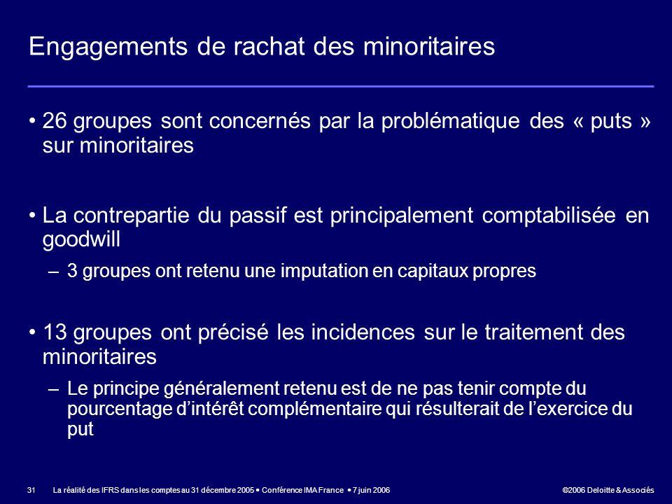 ©2006 Deloitte & Associés La réalité des IFRS dans les comptes au 31 décembre 2005 Conférence IMA France 7 juin 2006 31 Engagements de rachat des mino
