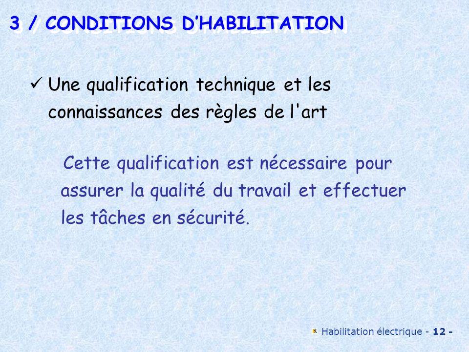 Habilitation électrique - 12 - 3 / CONDITIONS DHABILITATION 3 / CONDITIONS DHABILITATION Une qualification technique et les connaissances des règles d