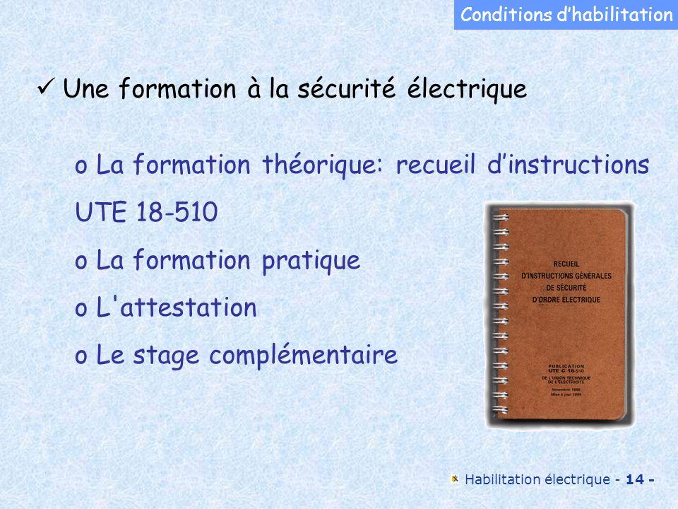 Habilitation électrique - 14 - Une formation à la sécurité électrique o La formation théorique: recueil dinstructions UTE 18-510 o La formation pratiq