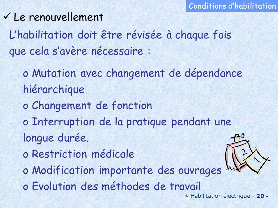 Habilitation électrique - 20 - o Mutation avec changement de dépendance hiérarchique o Changement de fonction o Interruption de la pratique pendant un