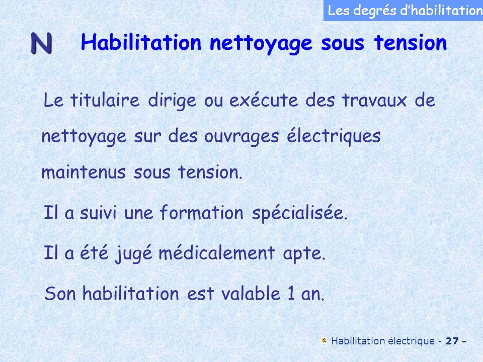 Habilitation électrique - 27 - Habilitation nettoyage sous tension Le titulaire dirige ou exécute des travaux de nettoyage sur des ouvrages électrique