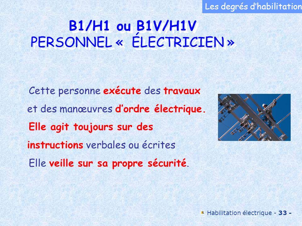 Habilitation électrique - 33 - B1/H1 ou B1V/H1V PERSONNEL « ÉLECTRICIEN » B1/H1 ou B1V/H1V PERSONNEL « ÉLECTRICIEN » Cette personne exécute des travau