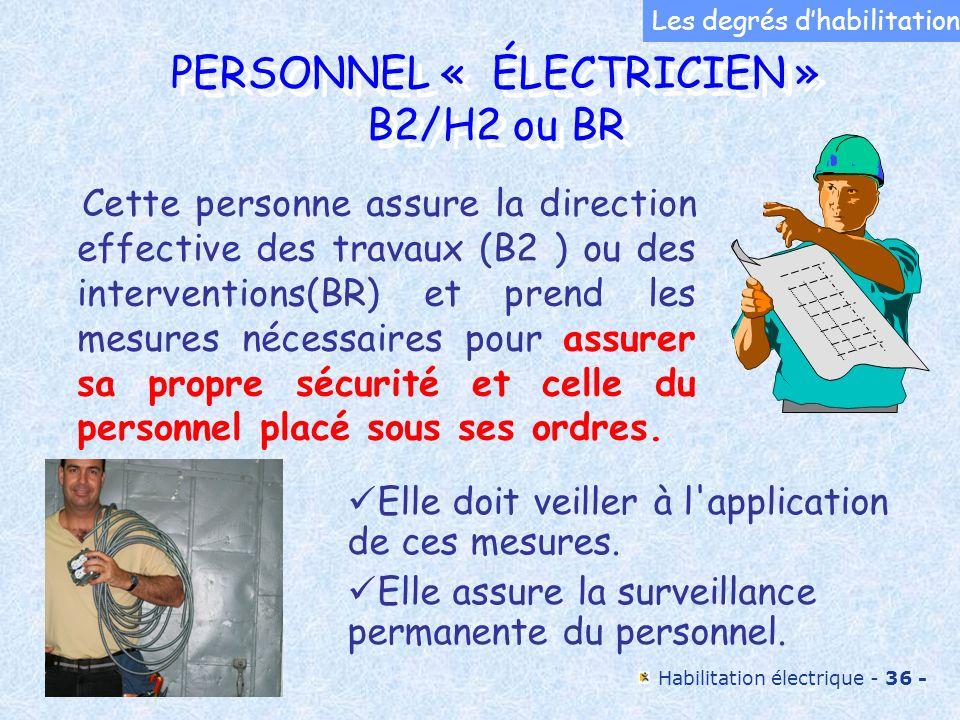 Habilitation électrique - 36 - PERSONNEL « ÉLECTRICIEN » B2/H2 ou BR PERSONNEL « ÉLECTRICIEN » B2/H2 ou BR Cette personne assure la direction effectiv