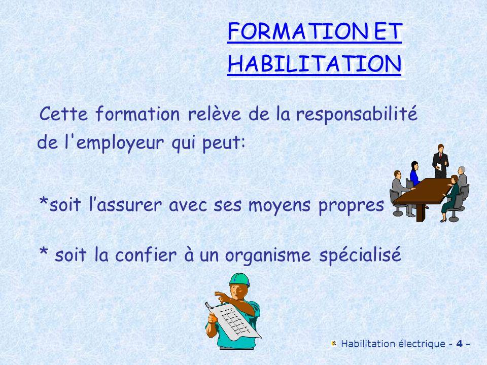 Habilitation électrique - 4 - FORMATION ET HABILITATION FORMATION ET HABILITATION Cette formation relève de la responsabilité de l'employeur qui peut:
