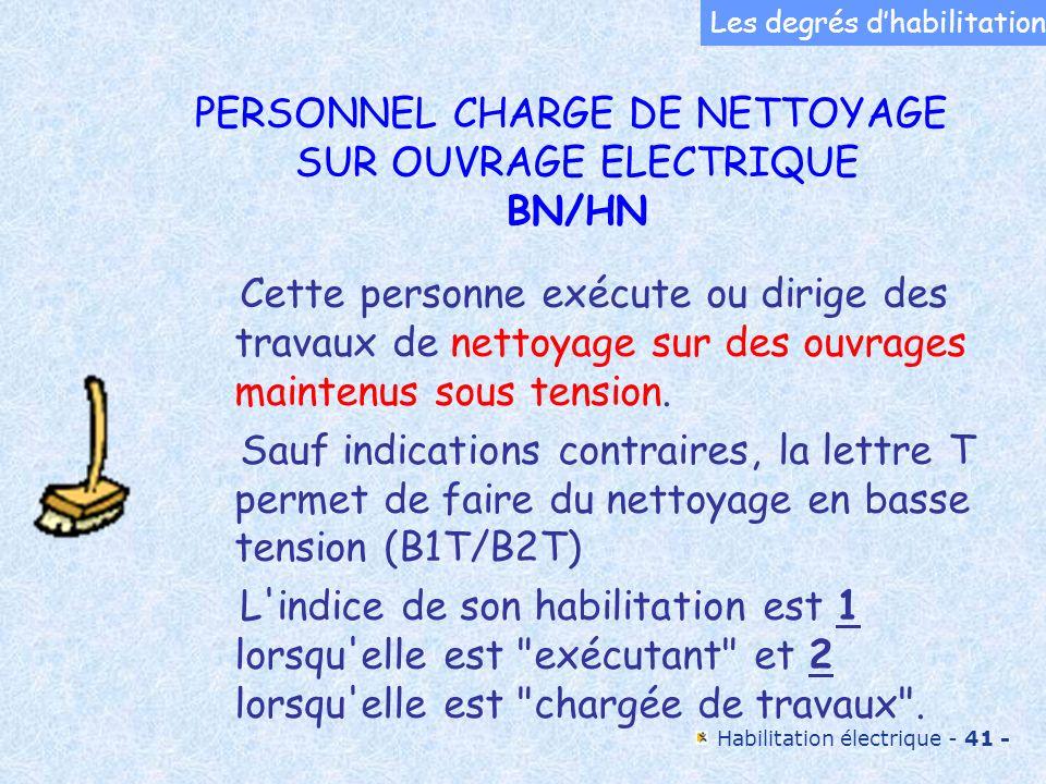 Habilitation électrique - 41 - Cette personne exécute ou dirige des travaux de nettoyage sur des ouvrages maintenus sous tension. Sauf indications con