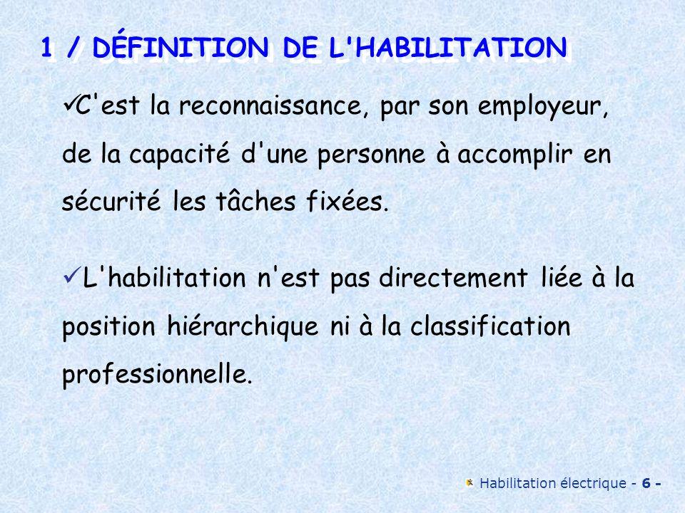 Habilitation électrique - 6 - 1 / DÉFINITION DE L'HABILITATION 1 / DÉFINITION DE L'HABILITATION C'est la reconnaissance, par son employeur, de la capa