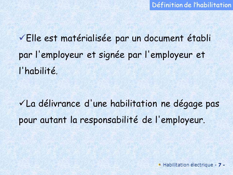 Habilitation électrique - 7 - Elle est matérialisée par un document établi par l'employeur et signée par l'employeur et l'habilité. La délivrance d'un