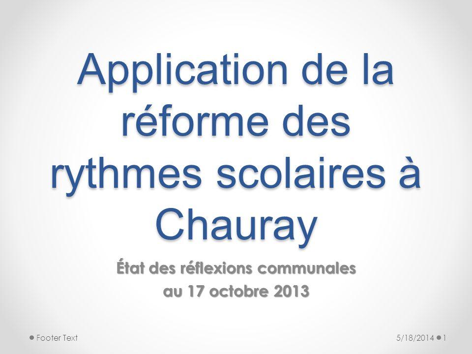 Application de la réforme des rythmes scolaires à Chauray État des réflexions communales au 17 octobre 2013 5/18/20141Footer Text
