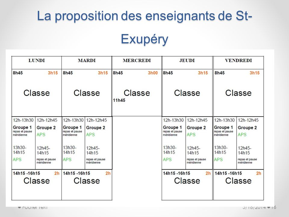 La proposition des enseignants de St- Exupéry 5/18/2014Footer Text16
