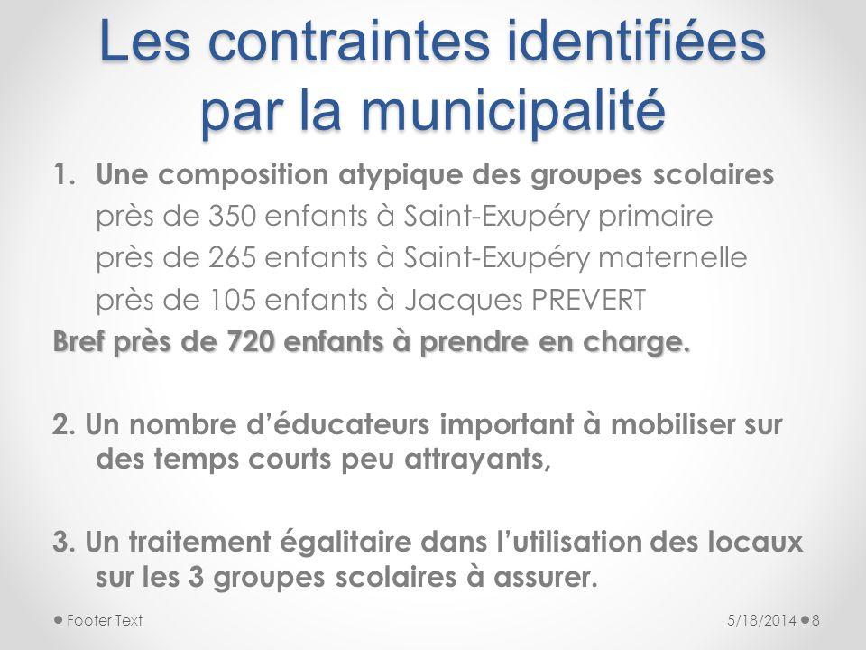 Les contraintes identifiées par la municipalité 1.Une composition atypique des groupes scolaires près de 350 enfants à Saint-Exupéry primaire près de