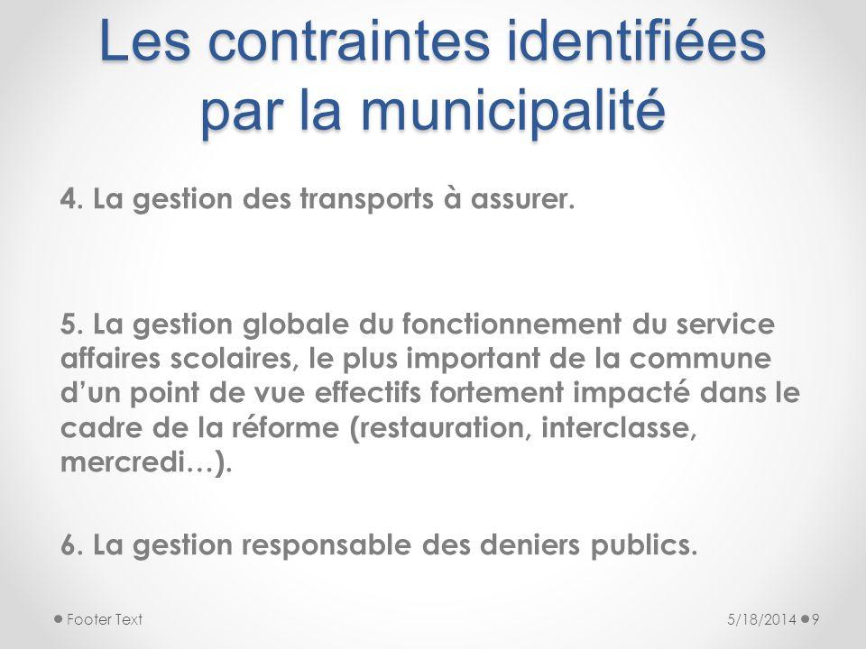 Les contraintes identifiées par la municipalité 4. La gestion des transports à assurer. 5. La gestion globale du fonctionnement du service affaires sc