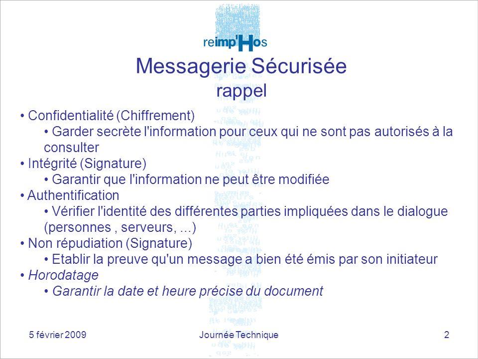 5 février 2009Journée Technique2 Confidentialité (Chiffrement) Garder secrète l'information pour ceux qui ne sont pas autorisés à la consulter Intégri