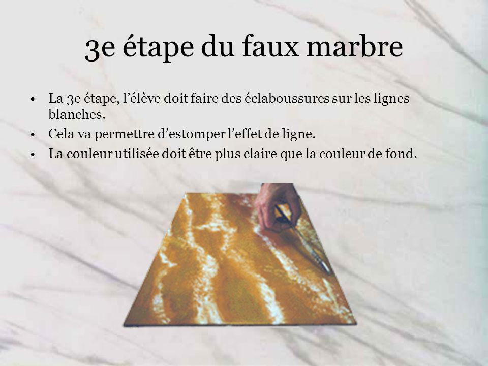 3e étape du faux marbre La 3e étape, lélève doit faire des éclaboussures sur les lignes blanches.