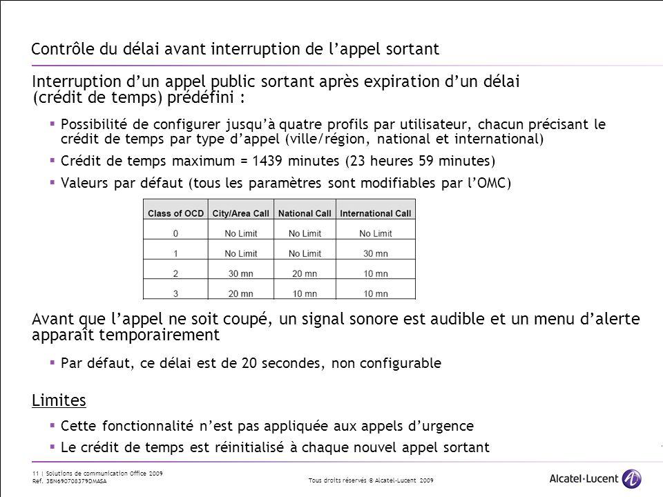 Tous droits réservés © Alcatel-Lucent 2009 11 | Solutions de communication Office 2009 Ref. 3BN690708379DMASA Contrôle du délai avant interruption de