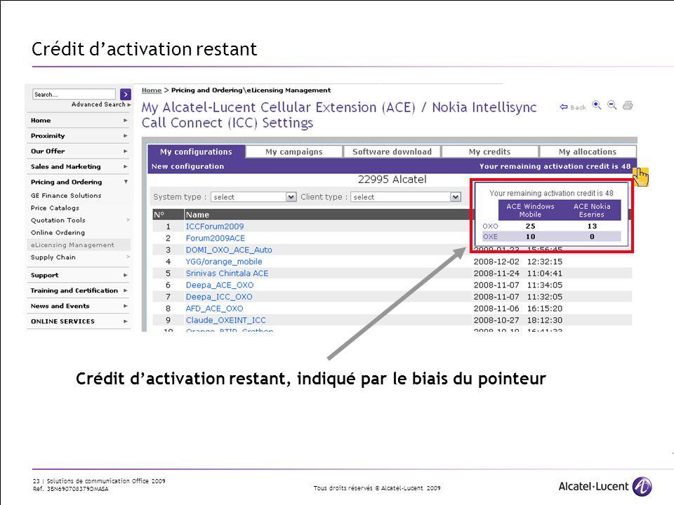 Tous droits réservés © Alcatel-Lucent 2009 23 | Solutions de communication Office 2009 Ref. 3BN690708379DMASA Crédit dactivation restant Crédit dactiv