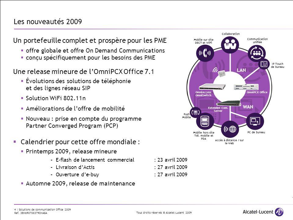 Tous droits réservés © Alcatel-Lucent 2009 15 | Solutions de communication Office 2009 Ref.