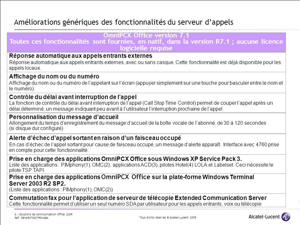 Tous droits réservés © Alcatel-Lucent 2009 8 | Solutions de communication Office 2009 Ref. 3BN690708379DMASA Améliorations génériques des fonctionnali