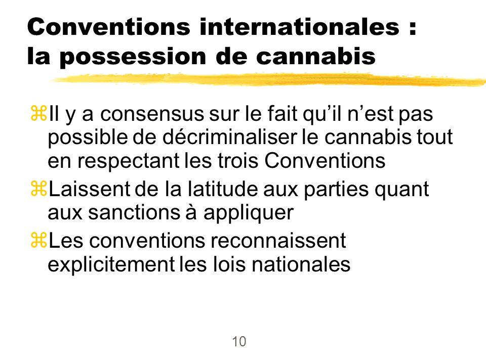 10 Conventions internationales : la possession de cannabis zIl y a consensus sur le fait quil nest pas possible de décriminaliser le cannabis tout en respectant les trois Conventions zLaissent de la latitude aux parties quant aux sanctions à appliquer zLes conventions reconnaissent explicitement les lois nationales