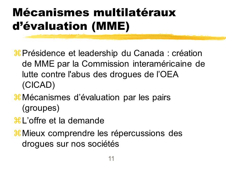 11 Mécanismes multilatéraux dévaluation (MME) zPrésidence et leadership du Canada : création de MME par la Commission interaméricaine de lutte contre