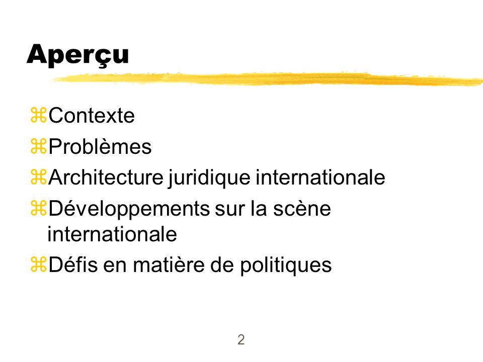 3 zAspects multidimensionnels : diplomatique, politique, financier, humanitaire, juridique; application de la loi zNombreux forums multilatéraux et régionaux zLes pays ont des préoccupations qui leur sont propres Dimensions internationales