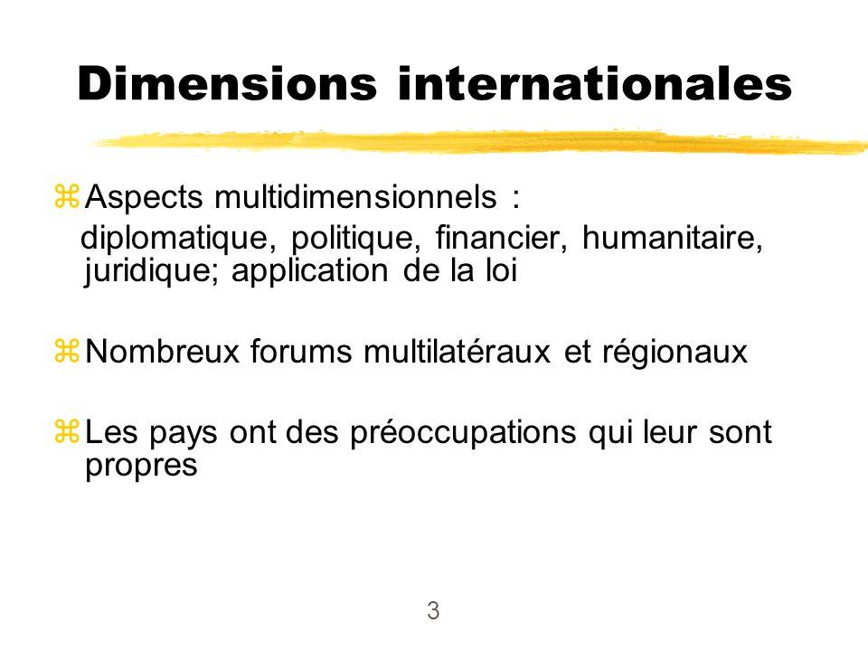 3 zAspects multidimensionnels : diplomatique, politique, financier, humanitaire, juridique; application de la loi zNombreux forums multilatéraux et ré