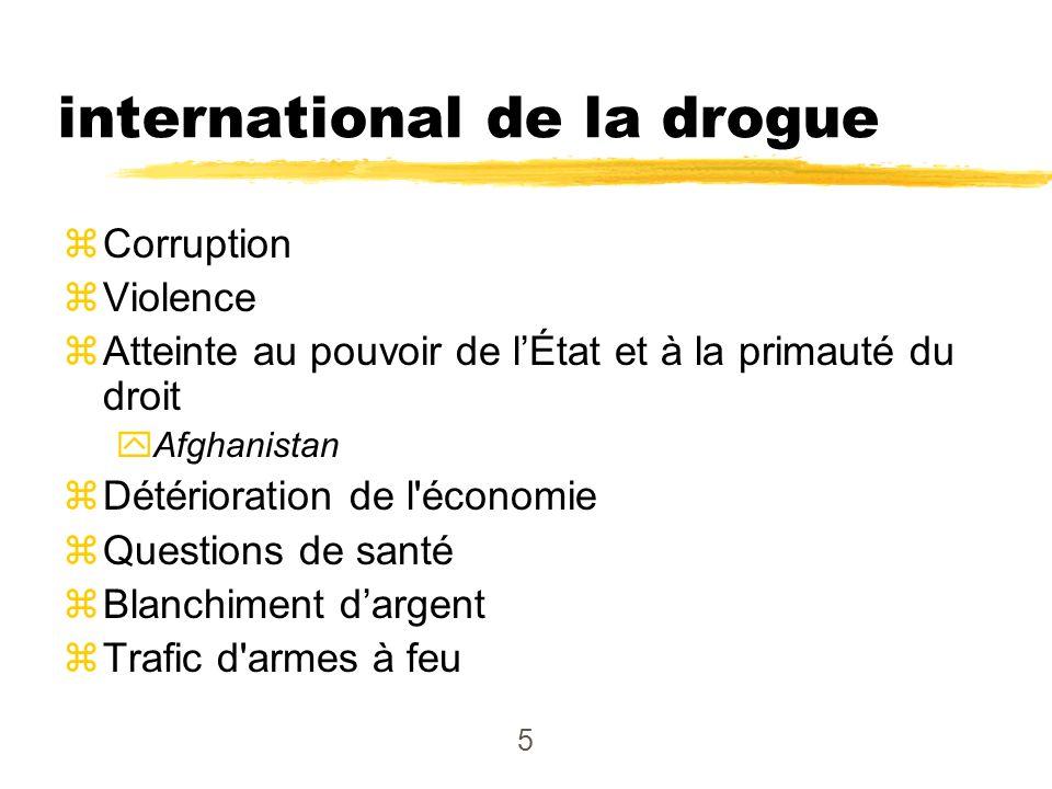 5 Problèmes - commerce international de la drogue zCorruption zViolence zAtteinte au pouvoir de lÉtat et à la primauté du droit yAfghanistan zDétérior