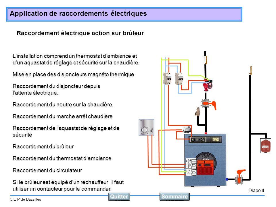 Diapo 4 C E P de Bazeilles Application de raccordements électriques Raccordement électrique action sur brûleur Linstallation comprend un thermostat dambiance et dun aquastat de réglage et sécurité sur la chaudière.