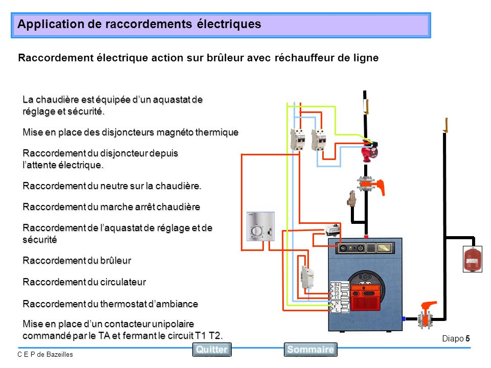 Diapo 6 C E P de Bazeilles Application de raccordements électriques Raccordement électrique action sur pompe Le raccordement électrique dune chaufferie individuelle, action sur pompe: Elle est équipe dun thermostat dambiance et dun aquastat de réglage et sécurité.