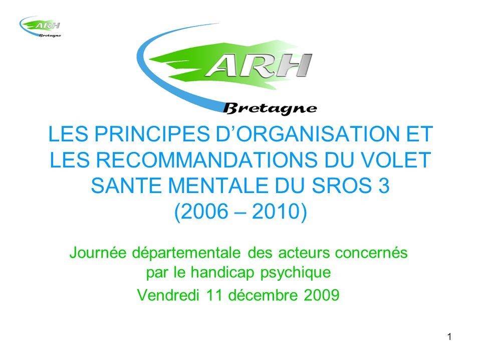 1 LES PRINCIPES DORGANISATION ET LES RECOMMANDATIONS DU VOLET SANTE MENTALE DU SROS 3 (2006 – 2010) Journée départementale des acteurs concernés par l