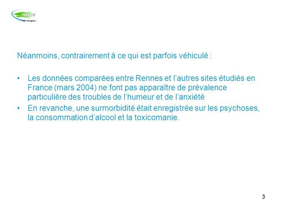 3 Néanmoins, contrairement à ce qui est parfois véhiculé : Les données comparées entre Rennes et lautres sites étudiés en France (mars 2004) ne font p