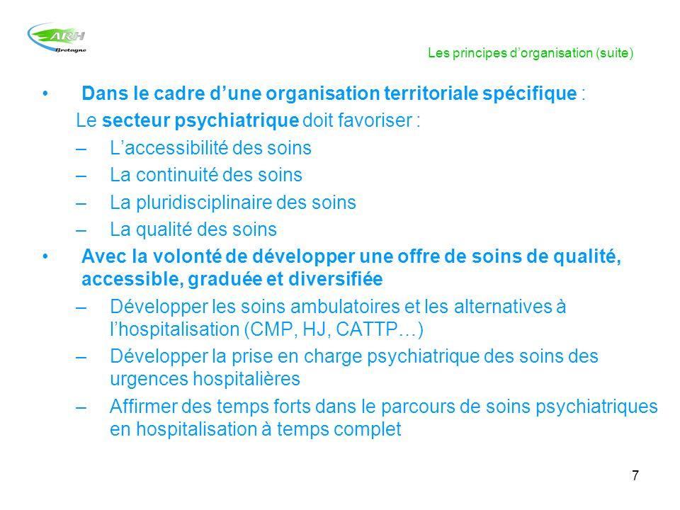7 Les principes dorganisation (suite) Dans le cadre dune organisation territoriale spécifique : Le secteur psychiatrique doit favoriser : –Laccessibil