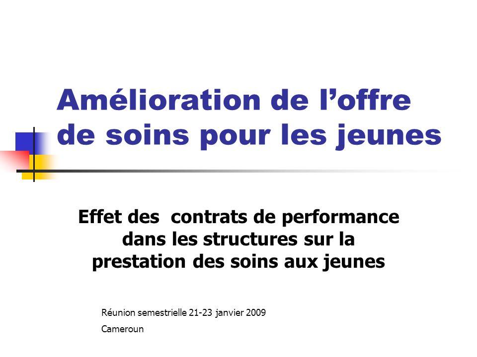 Amélioration de loffre de soins pour les jeunes Effet des contrats de performance dans les structures sur la prestation des soins aux jeunes Réunion semestrielle 21-23 janvier 2009 Cameroun