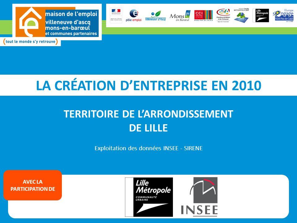 LA CRÉATION DENTREPRISE EN 2010 TERRITOIRE DE LARRONDISSEMENT DE LILLE Exploitation des données INSEE - SIRENE AVEC LA PARTICIPATION DE