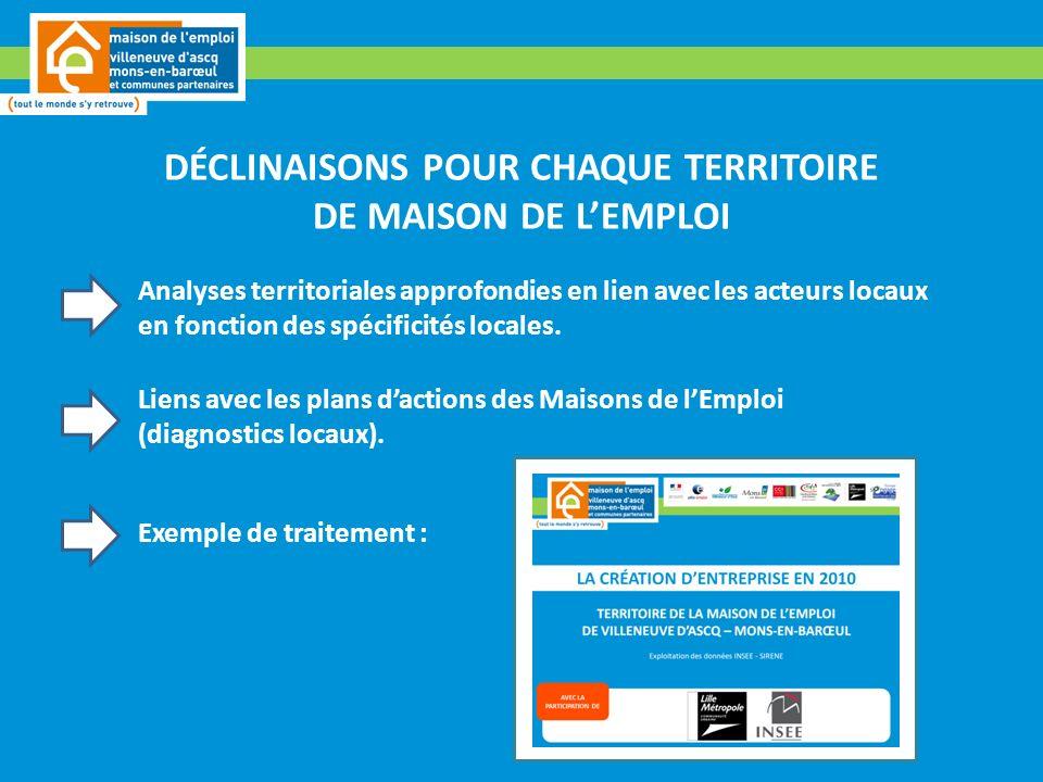 DÉCLINAISONS POUR CHAQUE TERRITOIRE DE MAISON DE LEMPLOI Analyses territoriales approfondies en lien avec les acteurs locaux en fonction des spécificités locales.