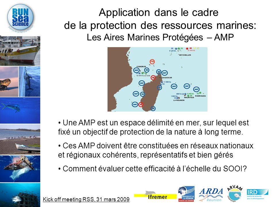 Kick off meeting RSS, 31 mars 2009 Application dans le cadre de la protection des ressources marines: Les Aires Marines Protégées – AMP Une AMP est un espace délimité en mer, sur lequel est fixé un objectif de protection de la nature à long terme.
