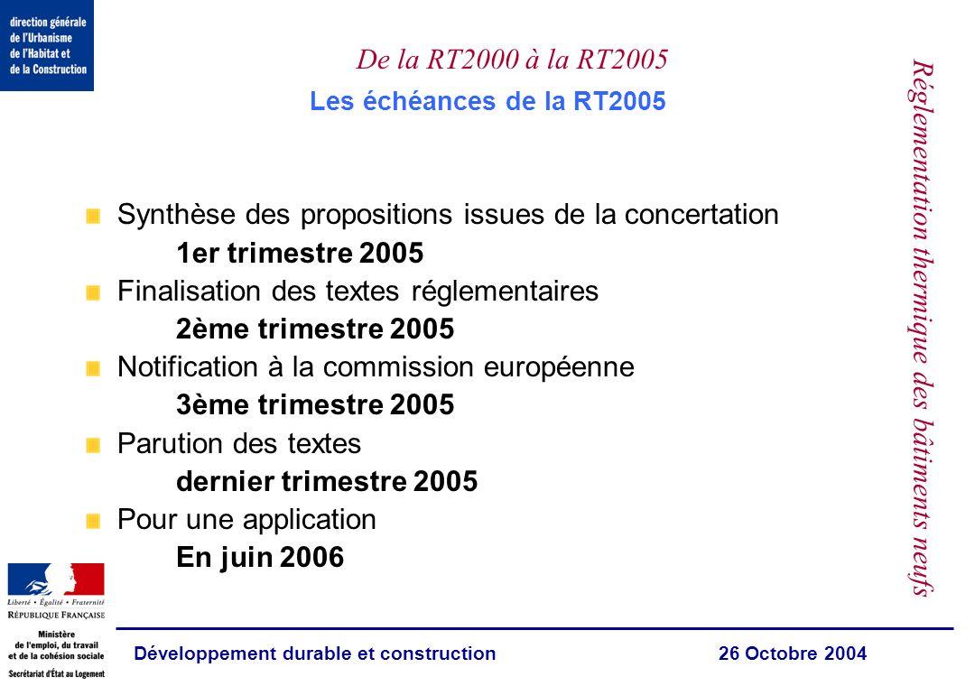 Développement durable et construction 26 Octobre 2004 De la RT2000 à la RT2005 Réglementation thermique des bâtiments neufs Les priorités de la RT2005 La feuille de route:le Plan climat 2004 et la directive européenne Une amélioration de 15%de la performance énergétique globale (avec un objectif de 40% dici 2020) Un maximum de consommation en kWh/m 2 et une évaluation des émissions de CO 2 Lintroduction des énergies renouvelables La valorisation de la conception bioclimatique Le renforcement des exigences sur le confort dété (limitation du recours à la climatisation) Le calcul des consommations de climatisation Le renforcement des exigences sur certains équipements et matériaux