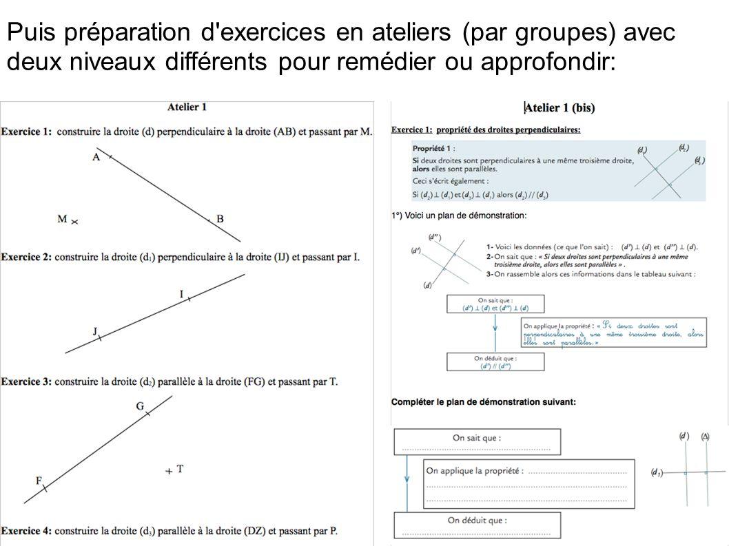 Puis préparation d'exercices en ateliers (par groupes) avec deux niveaux différents pour remédier ou approfondir: