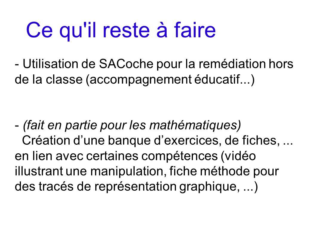 Ce qu'il reste à faire - Utilisation de SACoche pour la remédiation hors de la classe (accompagnement éducatif...) - (fait en partie pour les mathémat