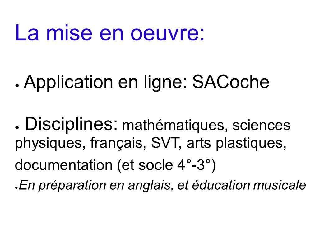 La mise en oeuvre: Application en ligne: SACoche Disciplines: mathématiques, sciences physiques, français, SVT, arts plastiques, documentation (et soc