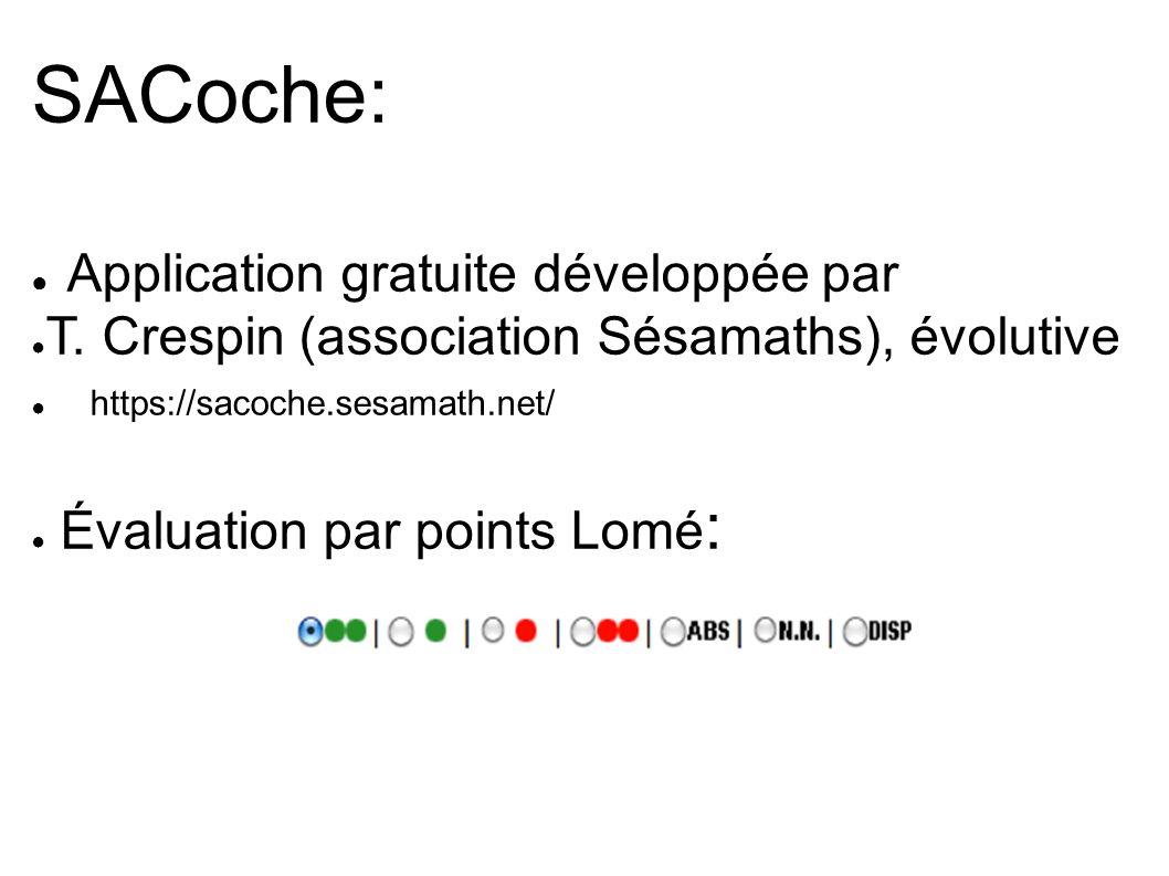 SACoche: Application gratuite développée par T. Crespin (association Sésamaths), évolutive https://sacoche.sesamath.net/ Évaluation par points Lomé :
