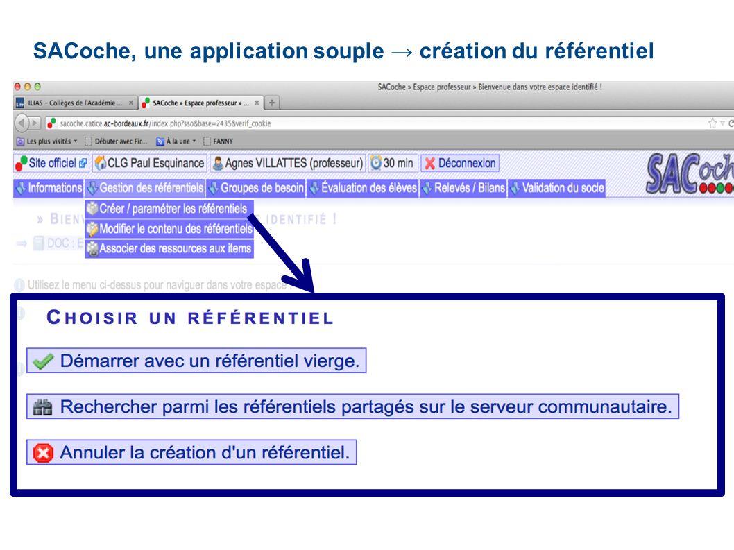 SACoche, une application souple création du référentiel
