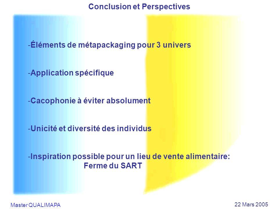 Master QUALIMAPA 22 Mars 2005 Conclusion et Perspectives -Éléments de métapackaging pour 3 univers -Application spécifique -Cacophonie à éviter absolu
